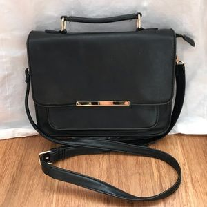 Forever 21 Black Crossbody with Gold Hardware